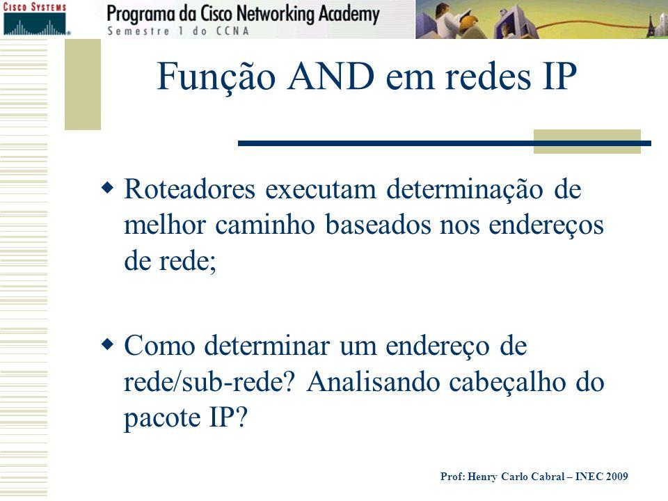Função AND em redes IP Roteadores executam determinação de melhor caminho baseados nos endereços de rede;