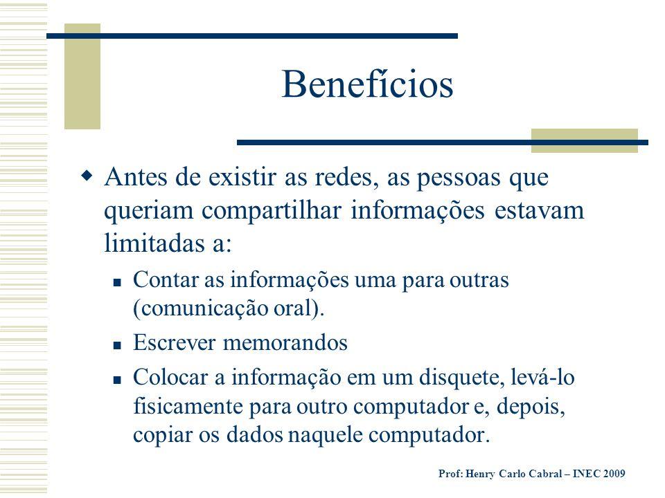 Benefícios Antes de existir as redes, as pessoas que queriam compartilhar informações estavam limitadas a: