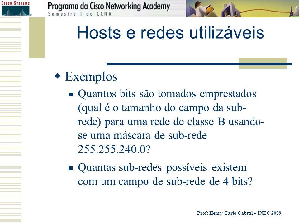 Hosts e redes utilizáveis