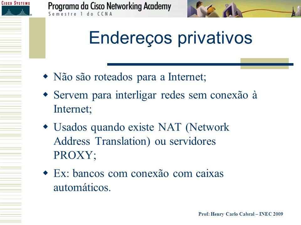 Endereços privativos Não são roteados para a Internet;