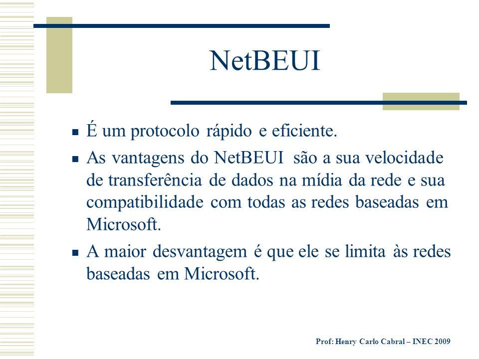 NetBEUI É um protocolo rápido e eficiente.