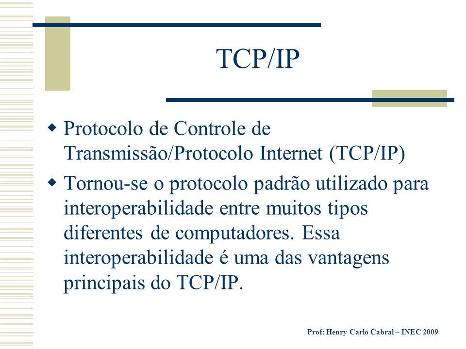 TCP/IP Protocolo de Controle de Transmissão/Protocolo Internet (TCP/IP)