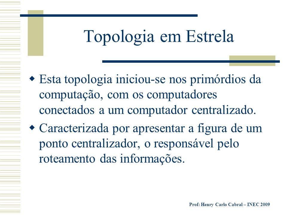 Topologia em Estrela Esta topologia iniciou-se nos primórdios da computação, com os computadores conectados a um computador centralizado.