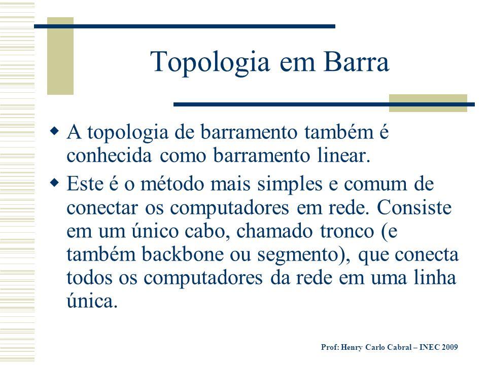 Topologia em Barra A topologia de barramento também é conhecida como barramento linear.