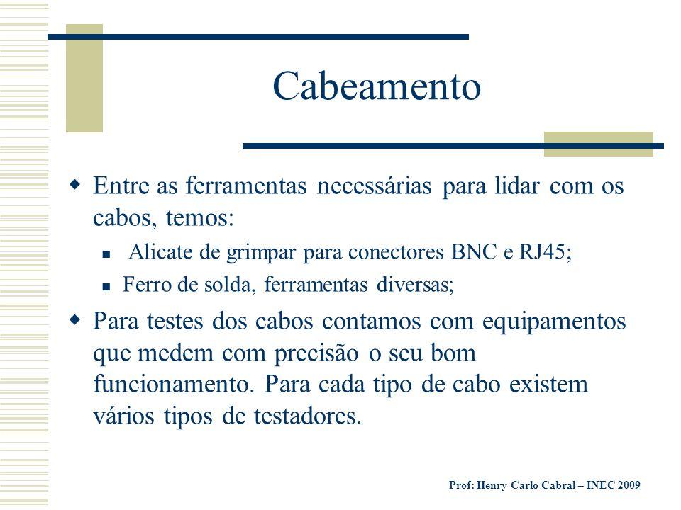 Cabeamento Entre as ferramentas necessárias para lidar com os cabos, temos: Alicate de grimpar para conectores BNC e RJ45;