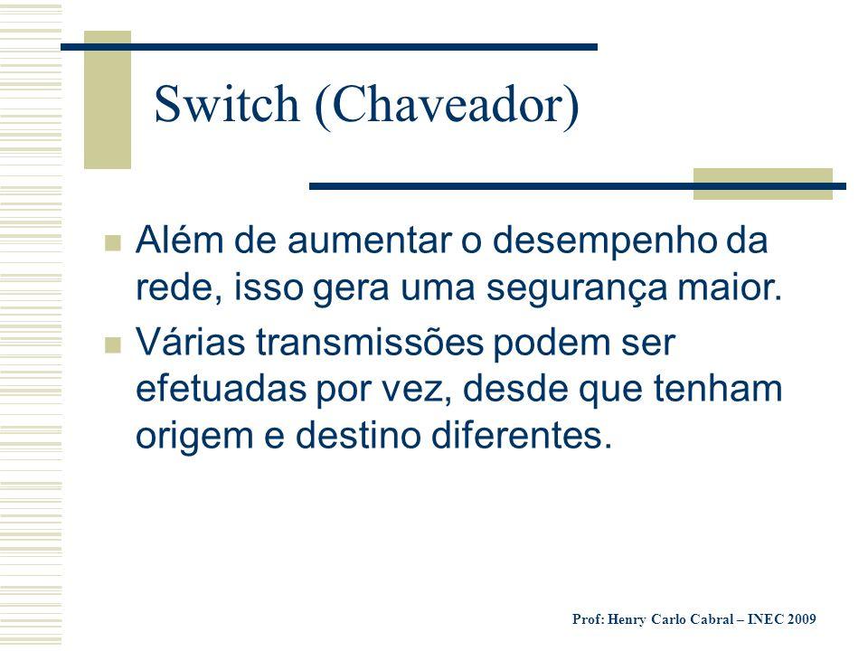 Switch (Chaveador) Além de aumentar o desempenho da rede, isso gera uma segurança maior.