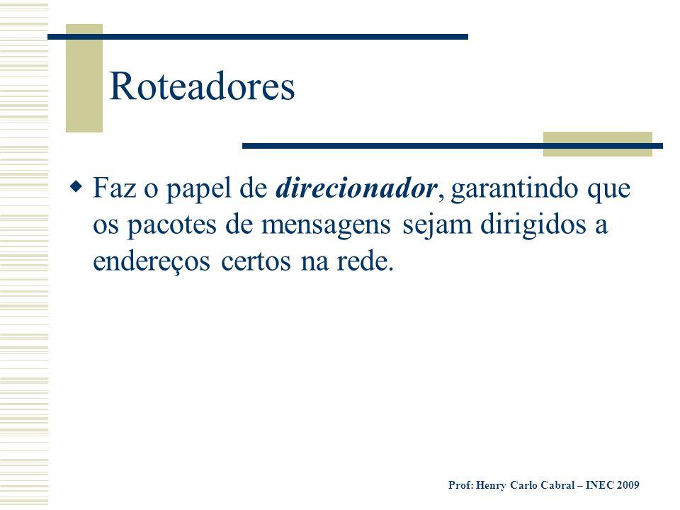 Roteadores Faz o papel de direcionador, garantindo que os pacotes de mensagens sejam dirigidos a endereços certos na rede.