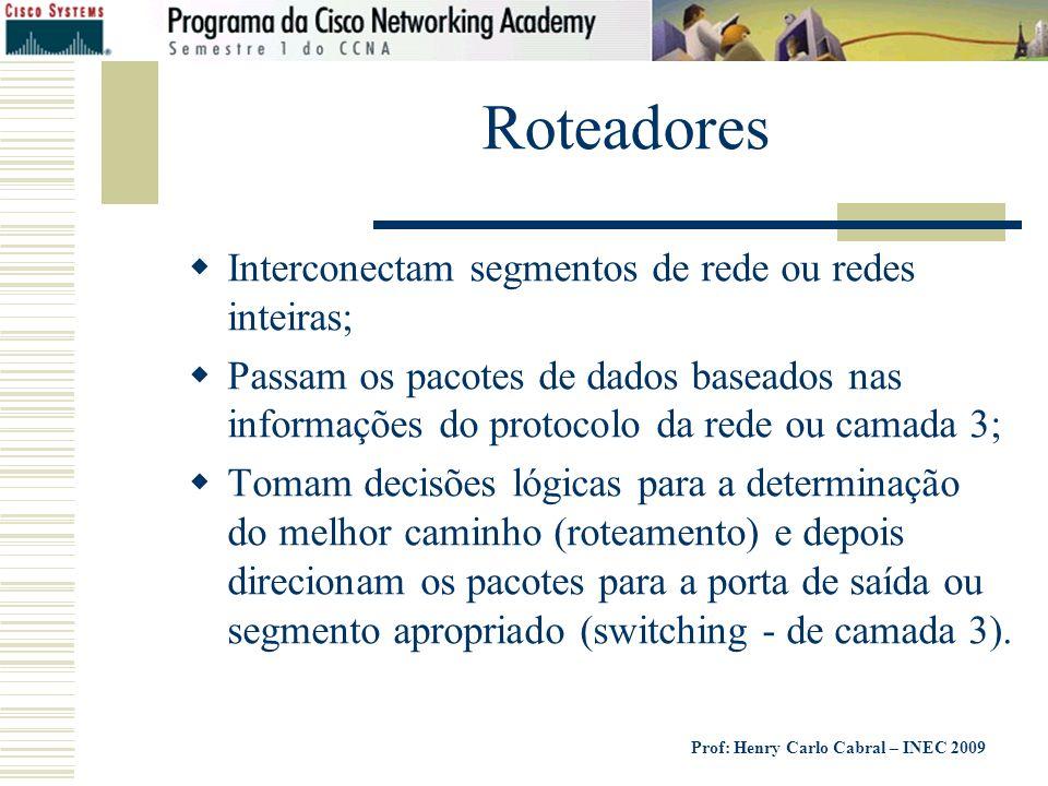 Roteadores Interconectam segmentos de rede ou redes inteiras;
