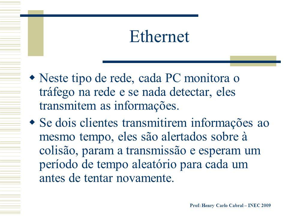Ethernet Neste tipo de rede, cada PC monitora o tráfego na rede e se nada detectar, eles transmitem as informações.