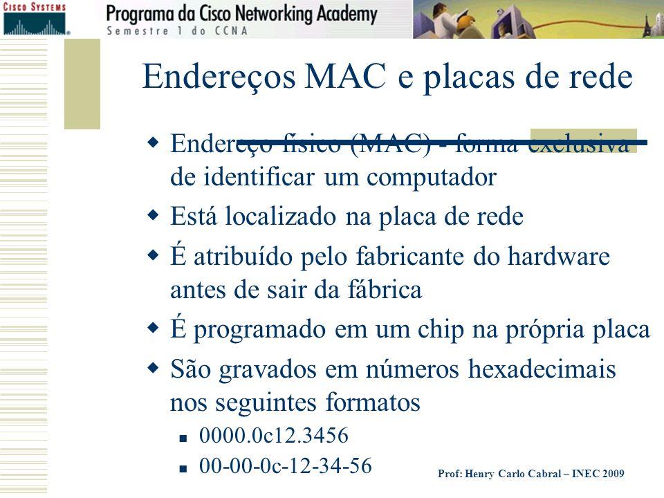 Endereços MAC e placas de rede