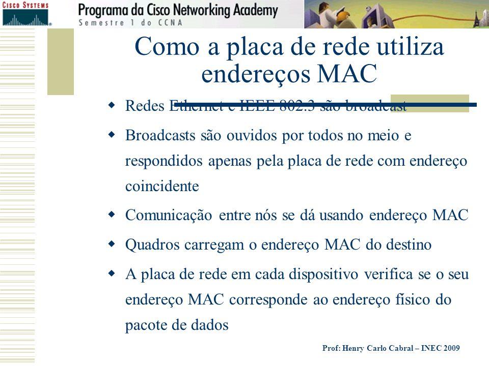 Como a placa de rede utiliza endereços MAC