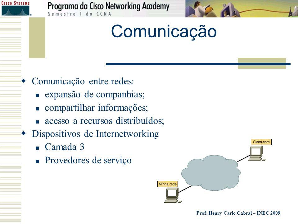 Comunicação Comunicação entre redes: expansão de companhias;