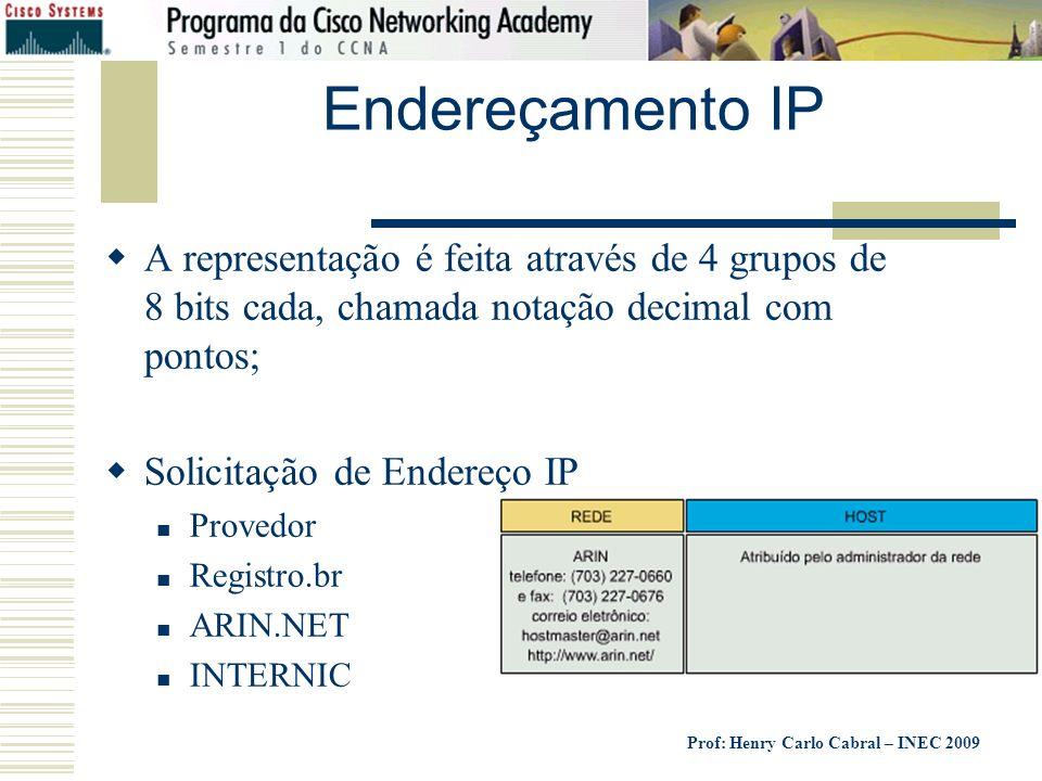 Endereçamento IP A representação é feita através de 4 grupos de 8 bits cada, chamada notação decimal com pontos;