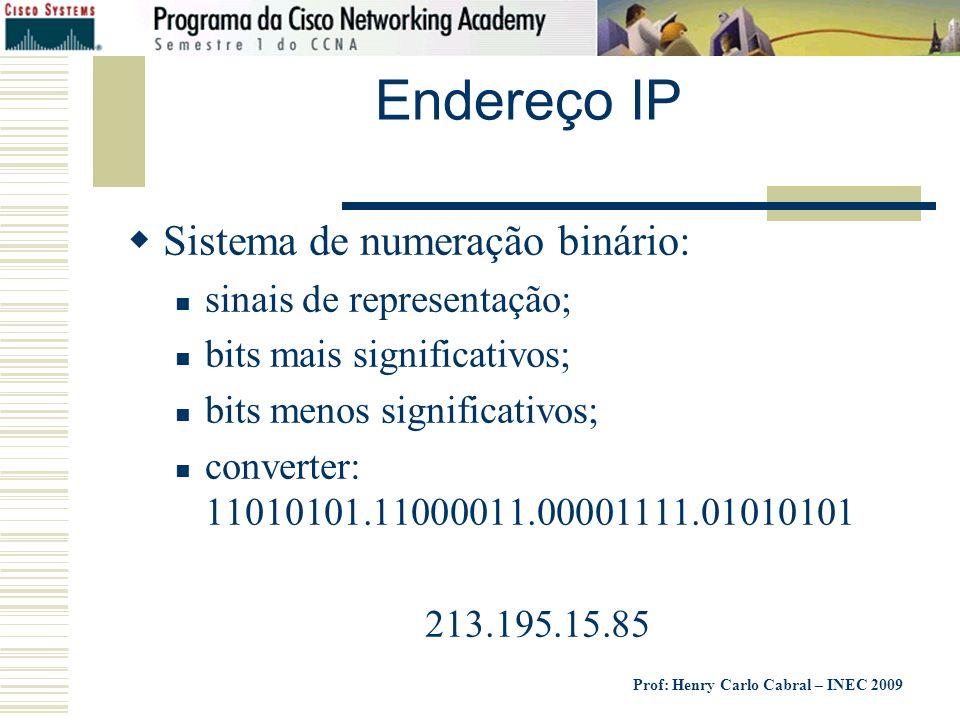 Endereço IP Sistema de numeração binário: sinais de representação;