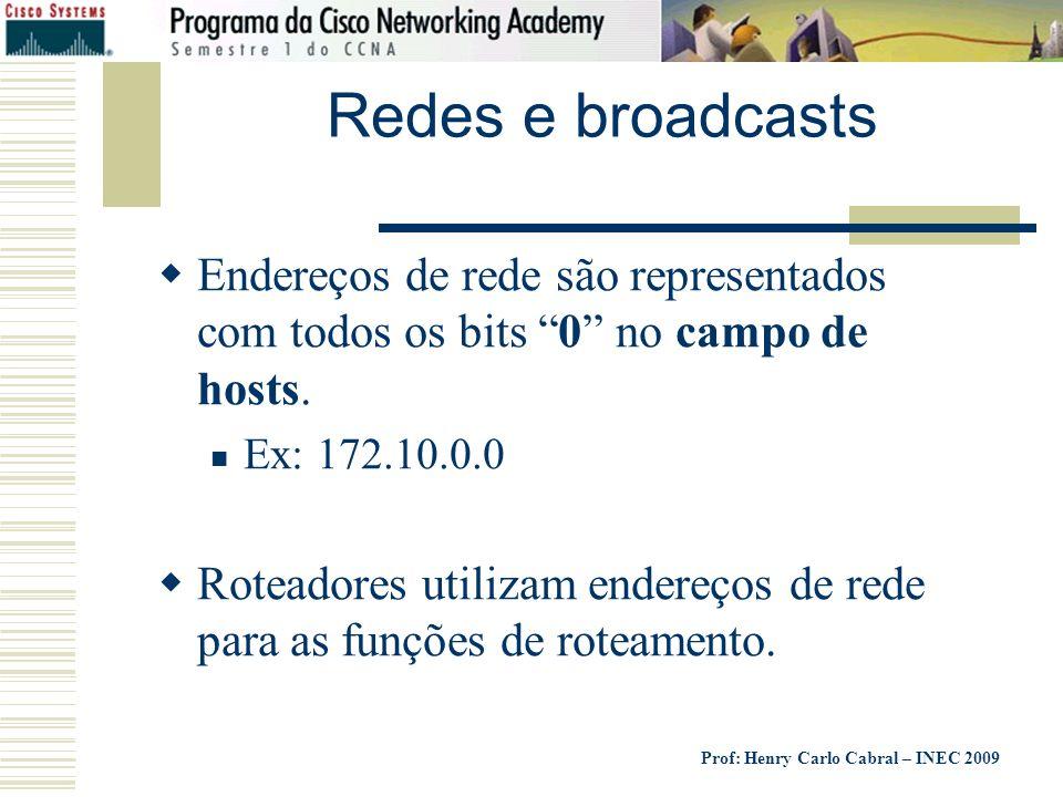 Redes e broadcasts Endereços de rede são representados com todos os bits 0 no campo de hosts. Ex: 172.10.0.0.