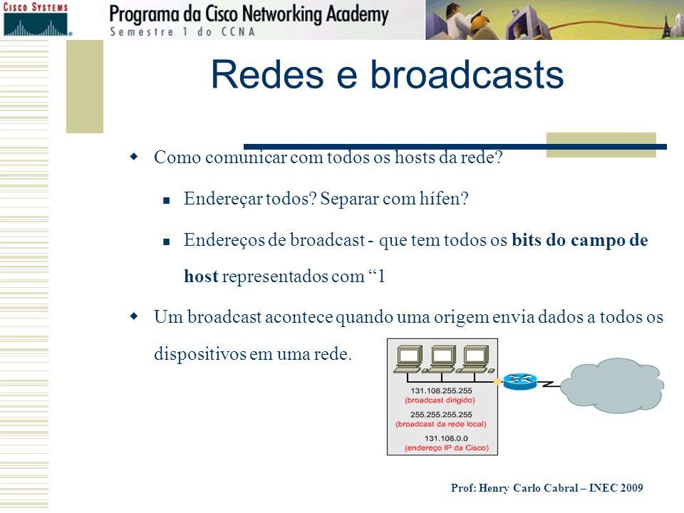 Redes e broadcasts Como comunicar com todos os hosts da rede