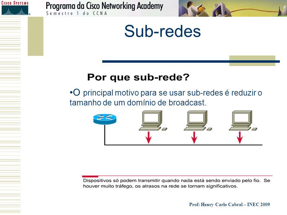 Sub-redes O principal motivo para se usar sub-redes é reduzir o tamanho de um domínio de broadcast.