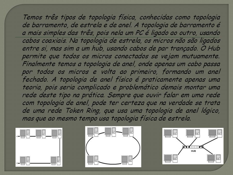 Temos três tipos de topologia física, conhecidas como topologia de barramento, de estrela e de anel.