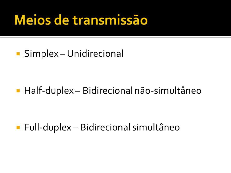 Meios de transmissão Simplex – Unidirecional
