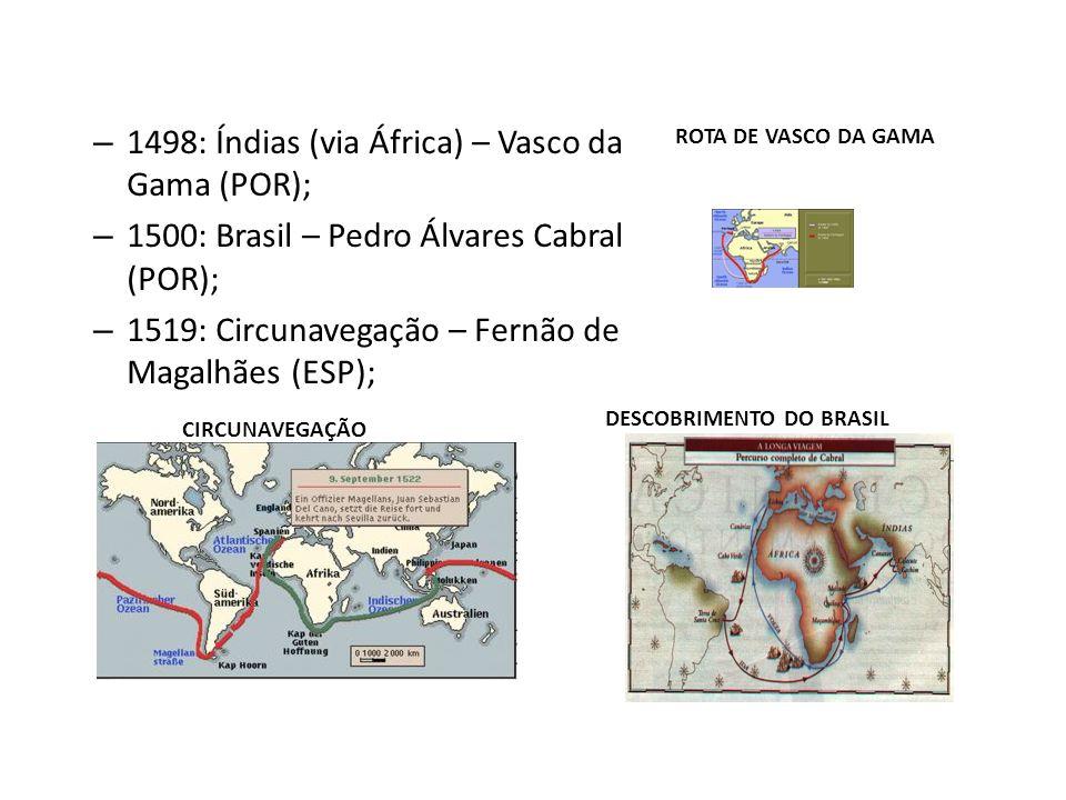1498: Índias (via África) – Vasco da Gama (POR);