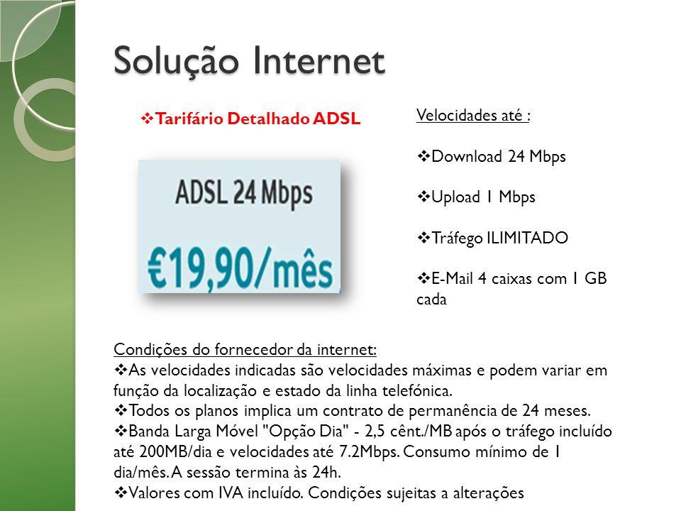 Solução Internet Velocidades até : Tarifário Detalhado ADSL