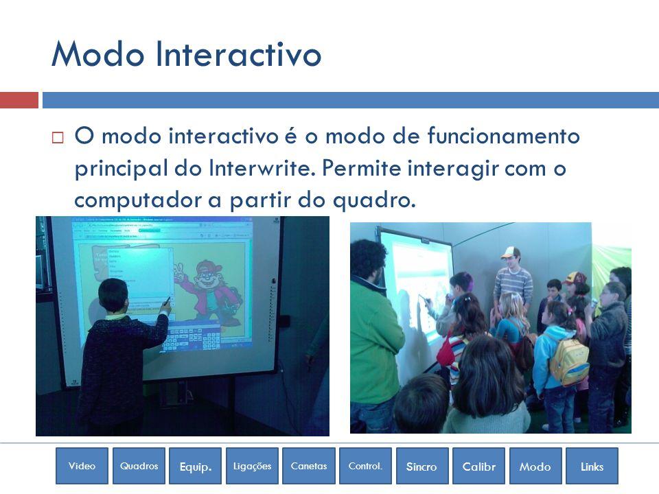 Modo Interactivo O modo interactivo é o modo de funcionamento principal do Interwrite.