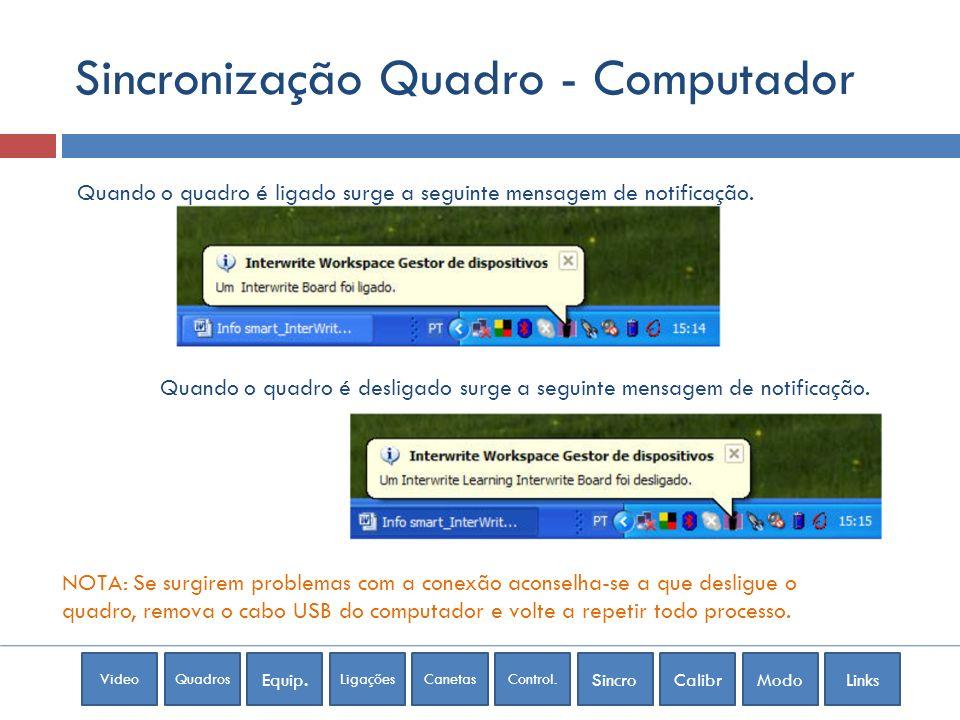 Sincronização Quadro - Computador