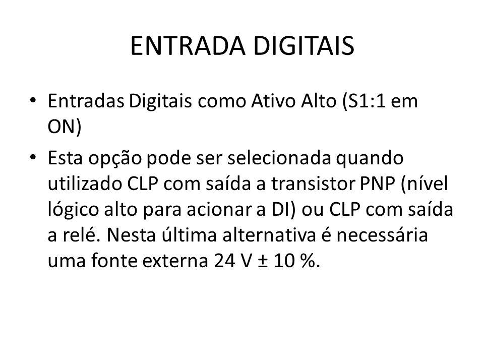 ENTRADA DIGITAIS Entradas Digitais como Ativo Alto (S1:1 em ON)