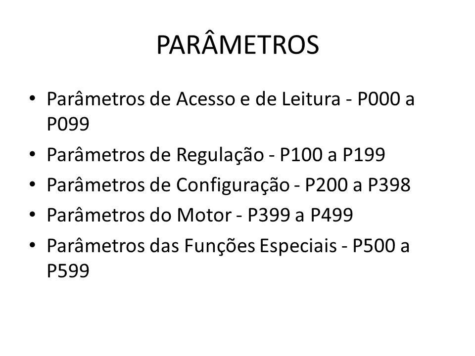 PARÂMETROS Parâmetros de Acesso e de Leitura - P000 a P099