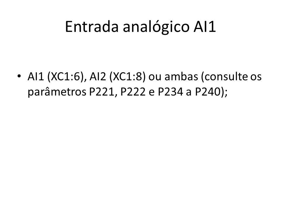 Entrada analógico AI1 AI1 (XC1:6), AI2 (XC1:8) ou ambas (consulte os parâmetros P221, P222 e P234 a P240);