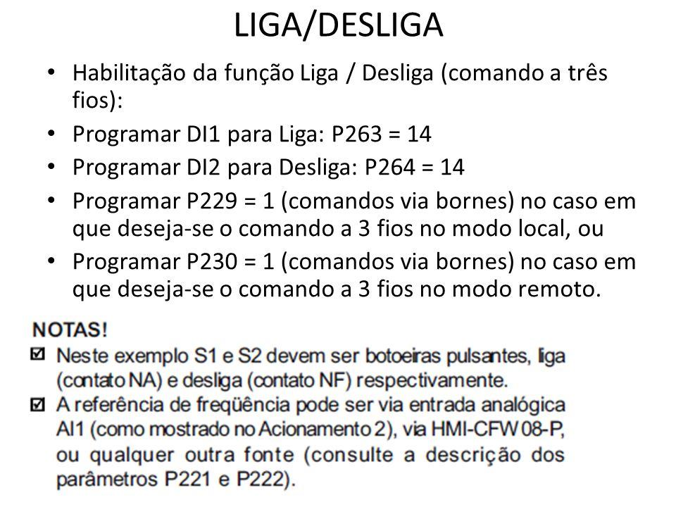LIGA/DESLIGA Habilitação da função Liga / Desliga (comando a três fios): Programar DI1 para Liga: P263 = 14.