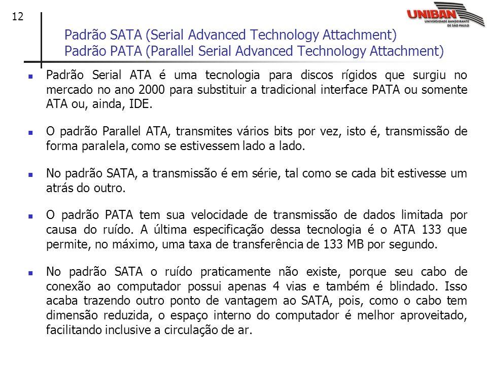 Padrão SATA (Serial Advanced Technology Attachment) Padrão PATA (Parallel Serial Advanced Technology Attachment)