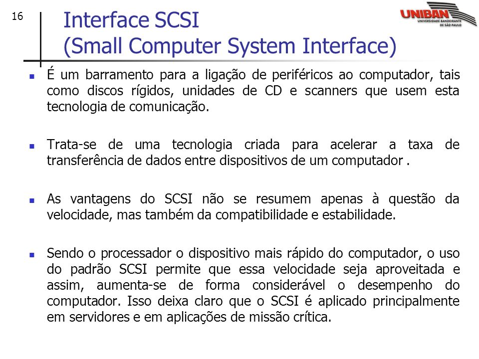 Interface SCSI (Small Computer System Interface)