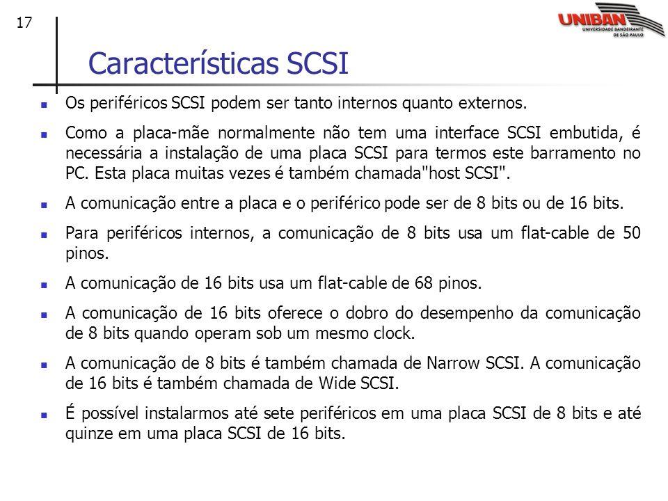 Características SCSI Os periféricos SCSI podem ser tanto internos quanto externos.