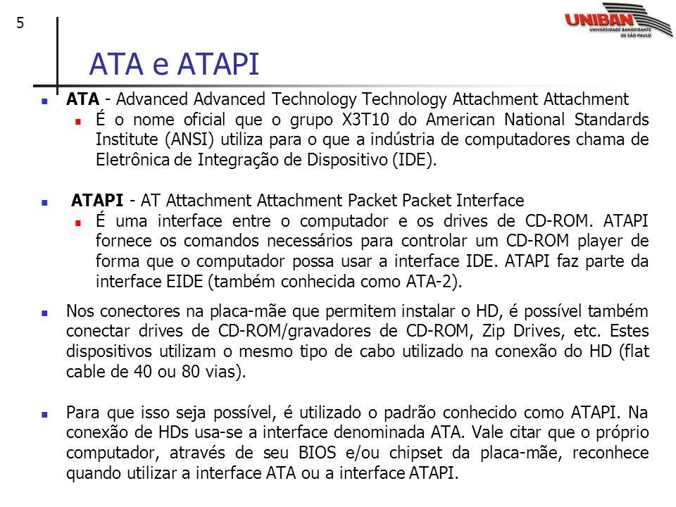 ATA e ATAPI ATA - Advanced Advanced Technology Technology Attachment Attachment.