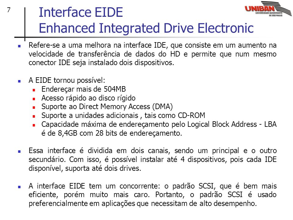 Interface EIDE Enhanced Integrated Drive Electronic