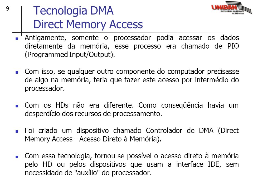 Tecnologia DMA Direct Memory Access