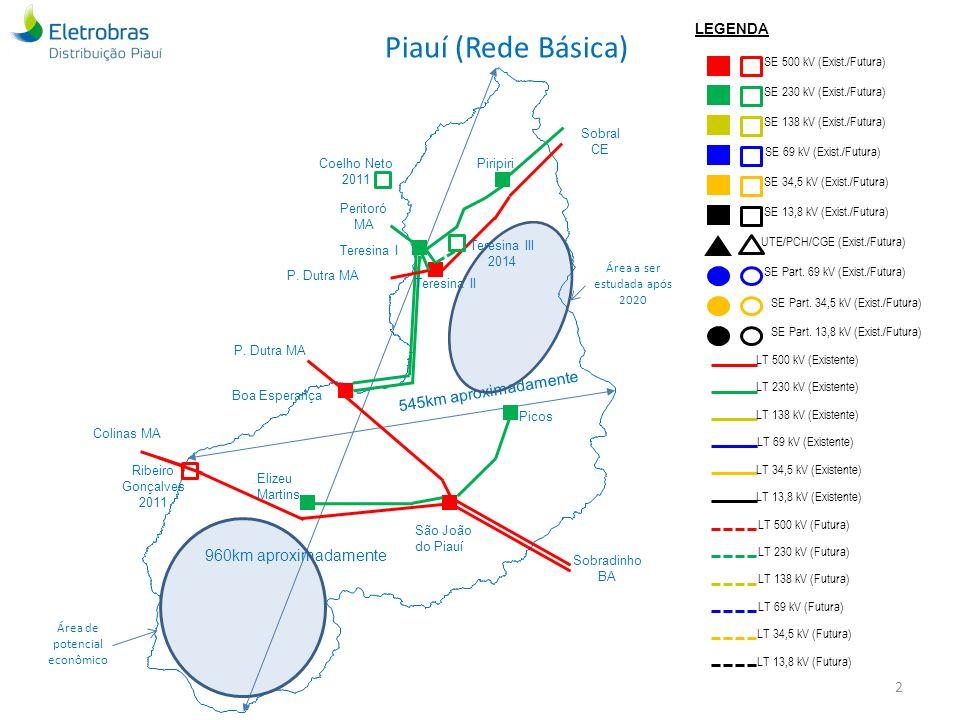 Piauí (Rede Básica) 545km aproximadamente 960km aproximadamente