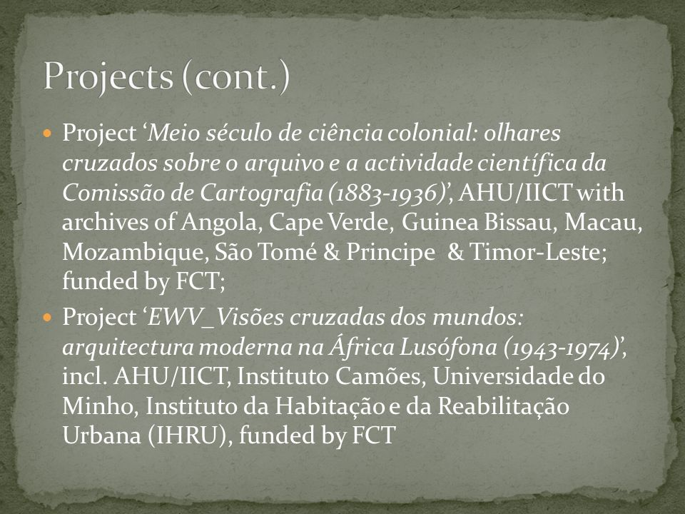 Projects (cont.)