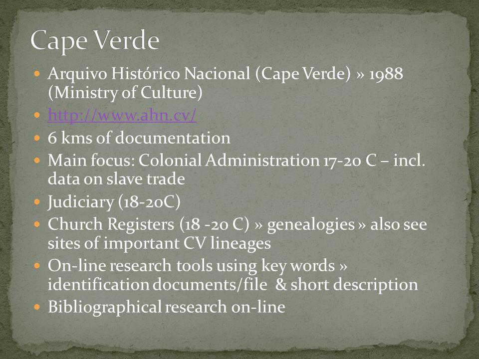 Cape Verde Arquivo Histórico Nacional (Cape Verde) » 1988 (Ministry of Culture) http://www.ahn.cv/
