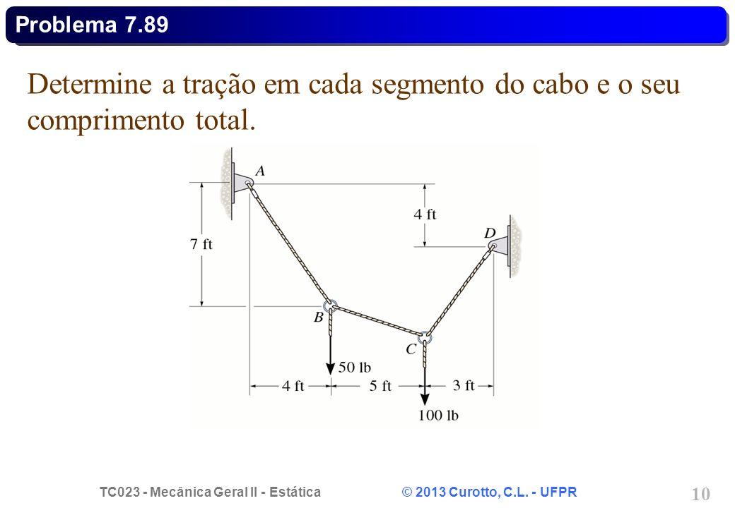 Determine a tração em cada segmento do cabo e o seu comprimento total.