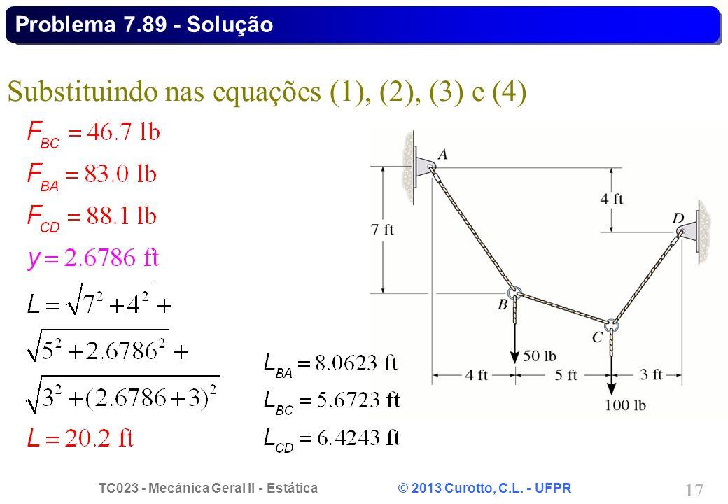 Substituindo nas equações (1), (2), (3) e (4)