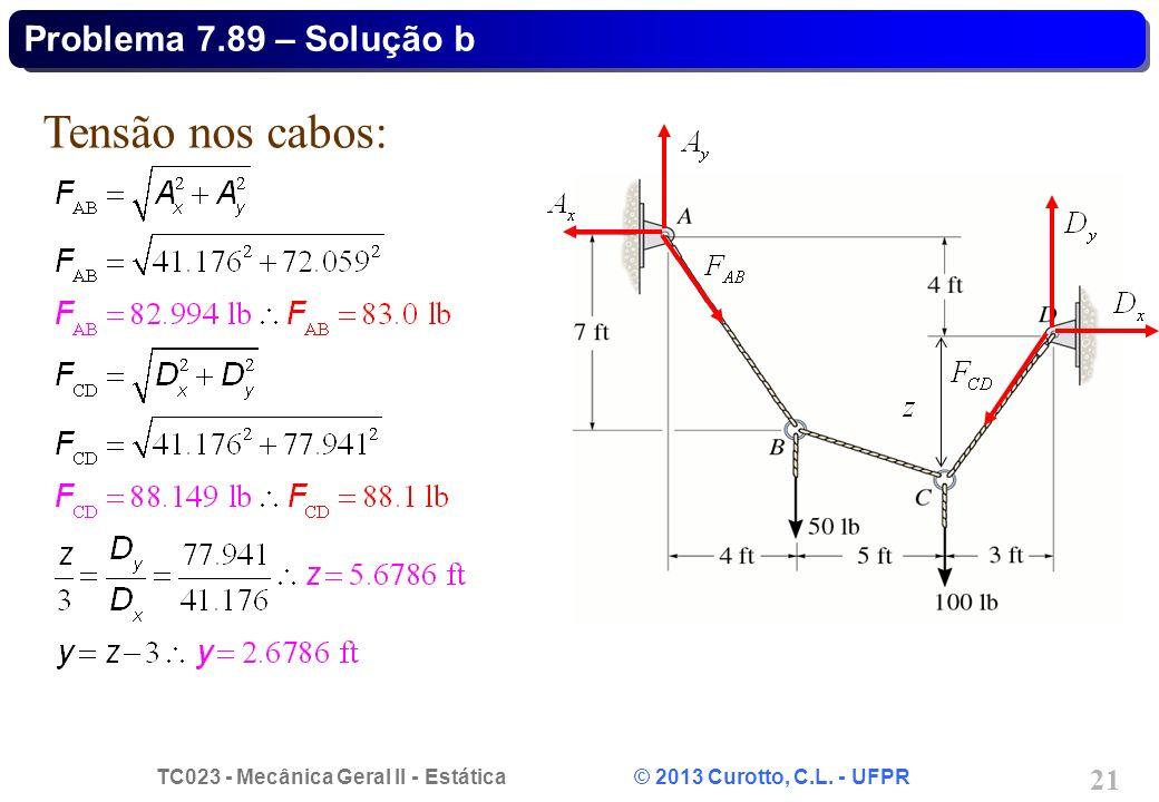 Problema 7.89 – Solução b Tensão nos cabos: