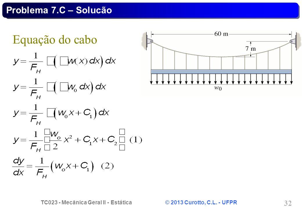 Problema 7.C – Solucão Equação do cabo