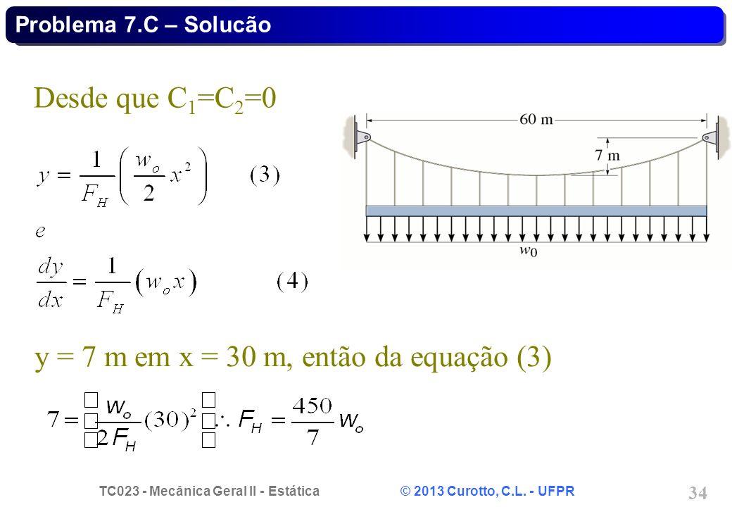 y = 7 m em x = 30 m, então da equação (3)