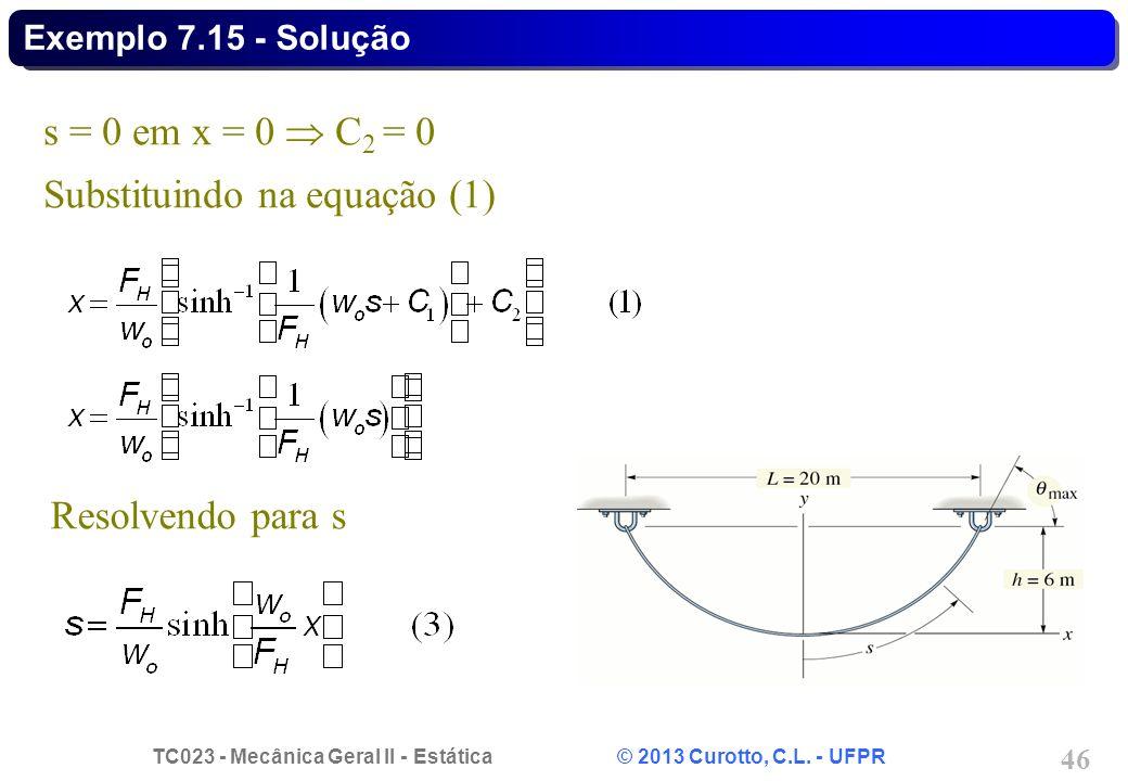 Substituindo na equação (1)