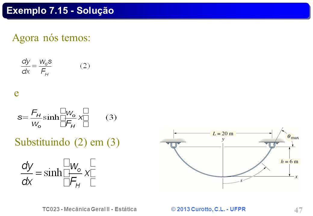 Exemplo 7.15 - Solução Agora nós temos: e Substituindo (2) em (3)