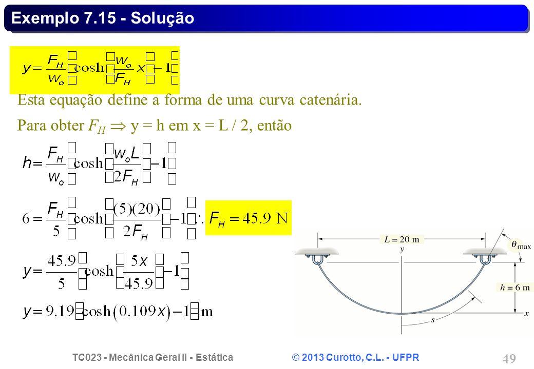 Exemplo 7.15 - Solução Esta equação define a forma de uma curva catenária.