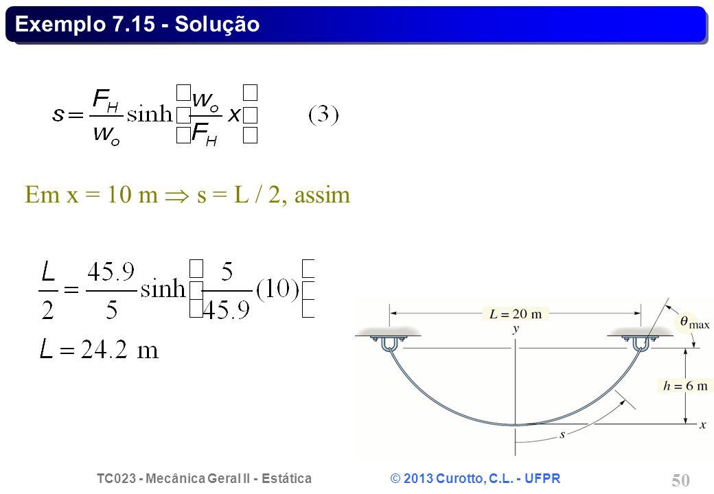 Exemplo 7.15 - Solução Em x = 10 m  s = L / 2, assim