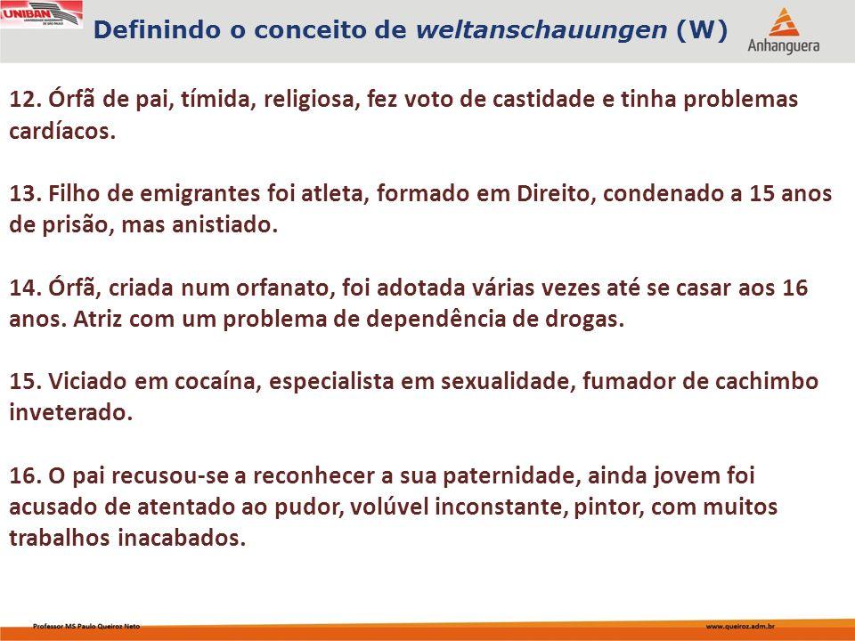 Definindo o conceito de weltanschauungen (W)